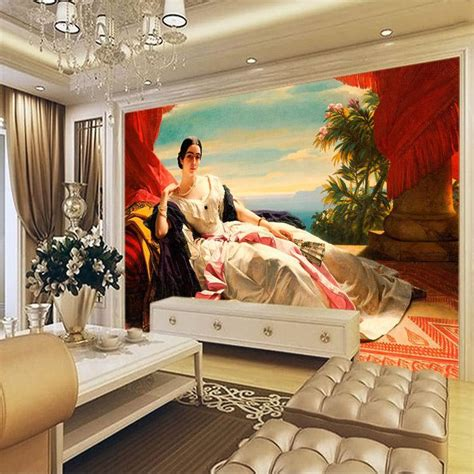 great paintings for living room european painting wallpaper 3d custom photo wallpaper portrait of leonilla wall murals