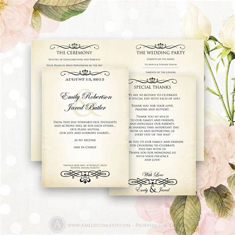 half fold wedding program template printable wedding programs editable half fold template