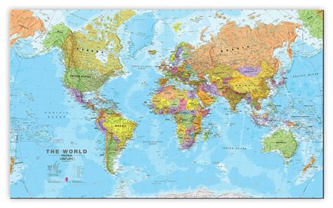 large world map large world wall map political canvas
