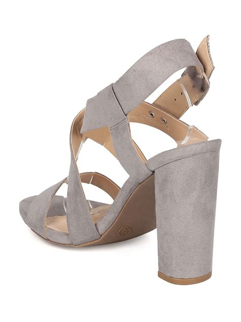 sandal heels shoes gi24 faux suede open toe strappy