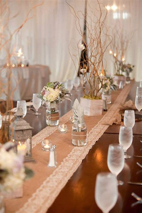 rustic wedding burlap and white lace table runners size 14