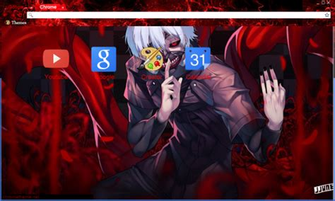 google theme kaneki tokyo ghoul kaneki white hair blood chrome theme themebeta