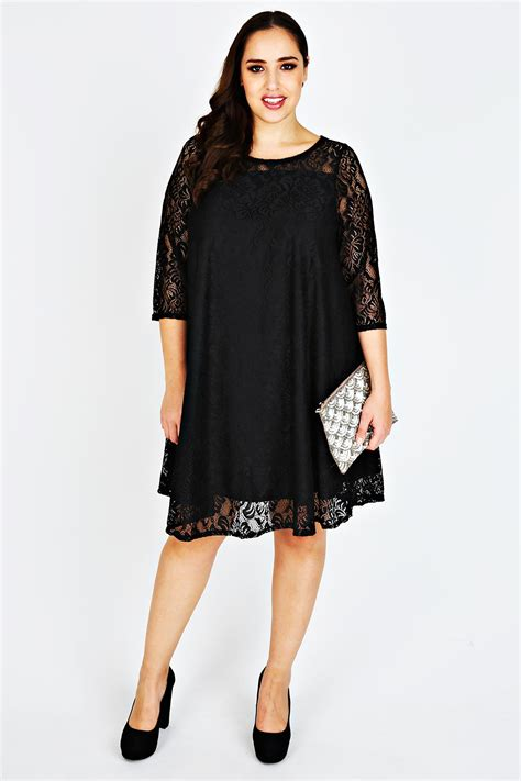 plus size swing dresses black lace sleeved swing dress plus size 14 to 36