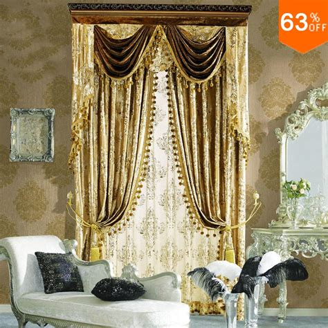 elegant living room curtains golden small fur surface embroidery flowers curtains for