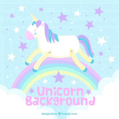 Unicorn Pastel background of unicorn and rainbow in pastel colors vector