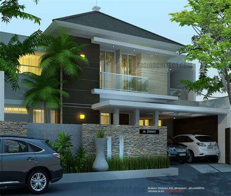 desain rumah asri model rumah mewah 2 lantai 5 kamar tidur lahan 4 x 15 m2