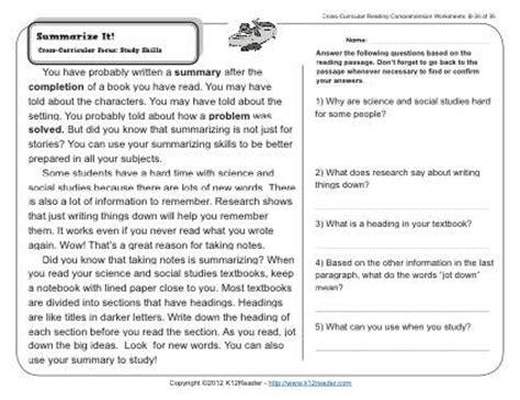 summarize it 2nd grade reading comprehension worksheets