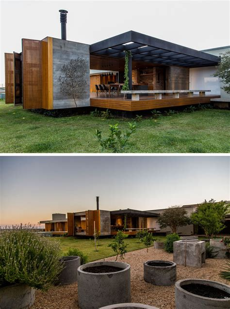 Mf House This House Is A Warm Display Of Wood Concrete And