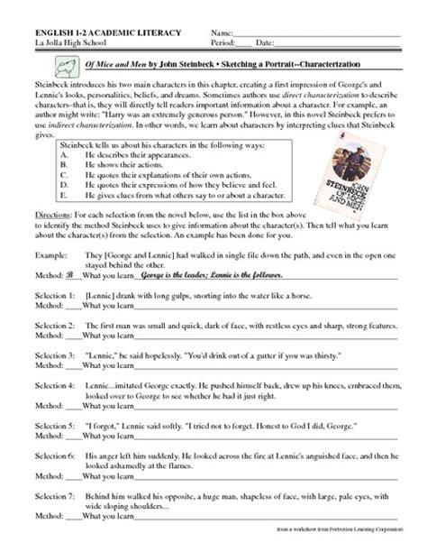 Of Mice And Worksheets by Of Mice And Worksheet Worksheets Releaseboard Free