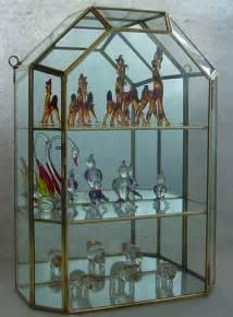 Curio Cabinet Figurines New Glass Brass Miniature Display Curio Cabinet Box Wall