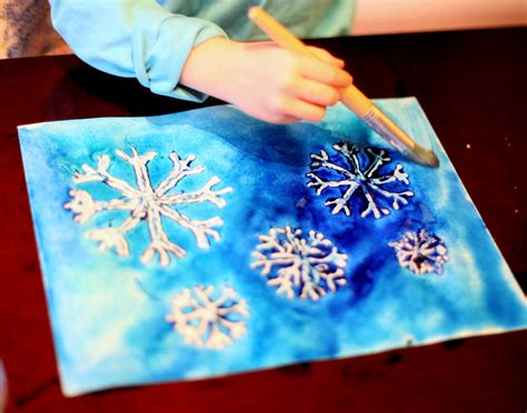 Salt And Wax Resist Watercolour winter watercolor resist art with free printable snowflake