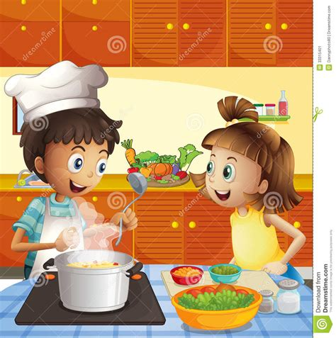 Kitchen Faucet Prices by Kids Cooking At The Kitchen Stock Image Image 33315401