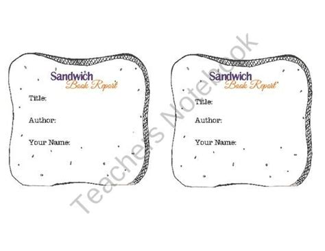sandwich book report printable pin by s notebook on free prek 8th grade