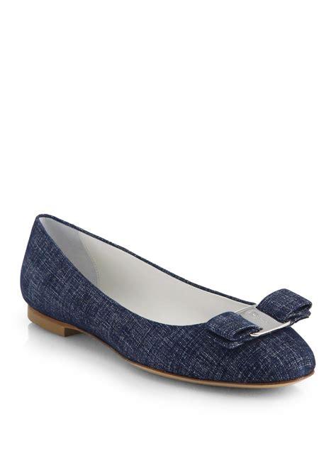 ferragamo shoes flats lyst ferragamo varina denim ballet flats in blue