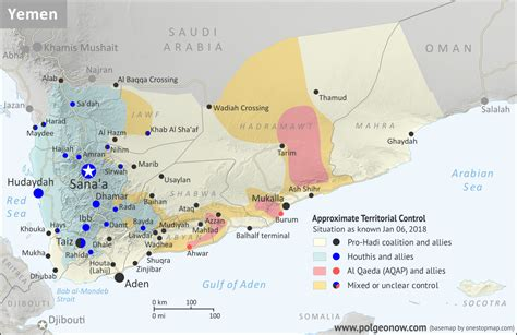 yemen control map report january  political