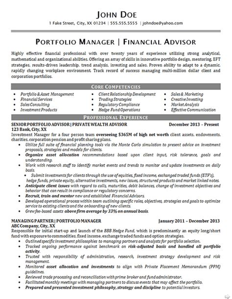 portfolio manager resume exle financial advisor