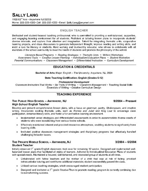 english teacher resume exle shows the educator s