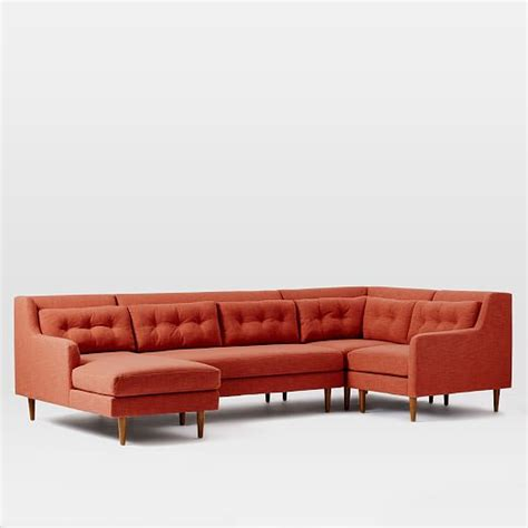 crosby sofa with chaise crosby 4 piece chaise sectional west elm
