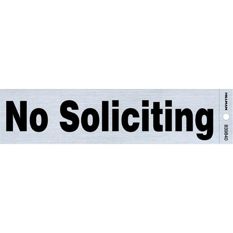 the hillman 2 in x 8 in plastic no soliciting sign
