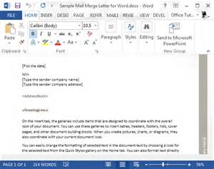 sample mail merge letter for word powerpoint presentation