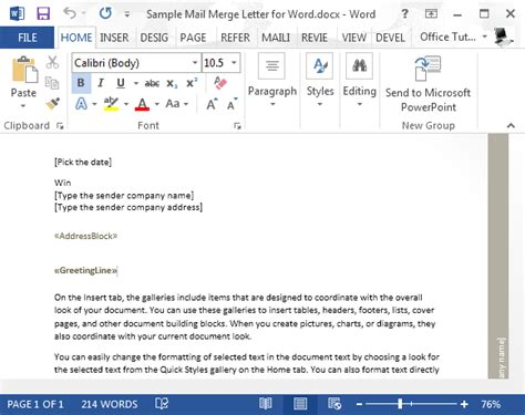 sle mail merge letter for word