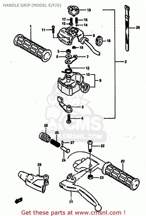 1985 Suzuki Lt50 Parts Suzuki Lt50 1985 F Handle Grip Model E F G Schematic