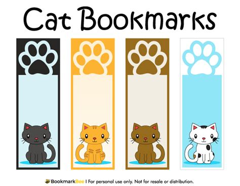 printable bookmarks pdf free printable cat bookmarks with paw prints download the