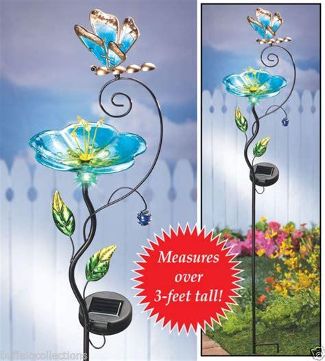 glass flower solar lights solar powered lighted glass flower butterfly bird feeder