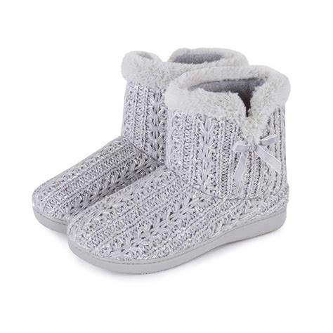 knit bootie slippers isotoner sparkle knit pillowstep bootie slippers