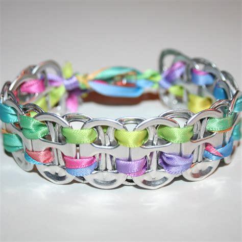 rainbow pastels pop can tab bracelet with bead closure