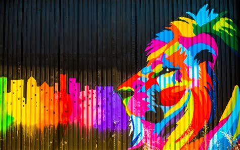 wallpapers  lion art graffiti street art