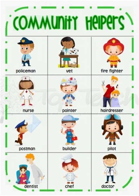 kindergarten activities community helpers community helper theme community helpers chart and desks