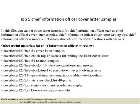 cover letter for cio position top 5 chief information officer cover letter sles