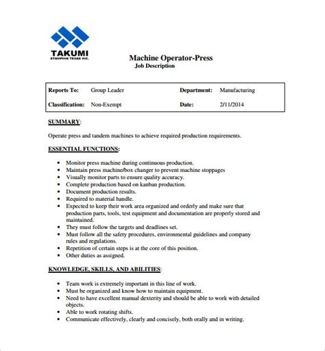 Machine Operator Description For Resume by Machine Operator Description Resume Resume Ideas
