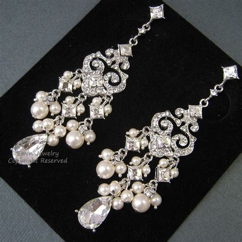 Bridal Chandelier Earrings With Pearls Chandelier Bridal Earrings E0022 Ivory Pearl Bridal Earrings Weddi