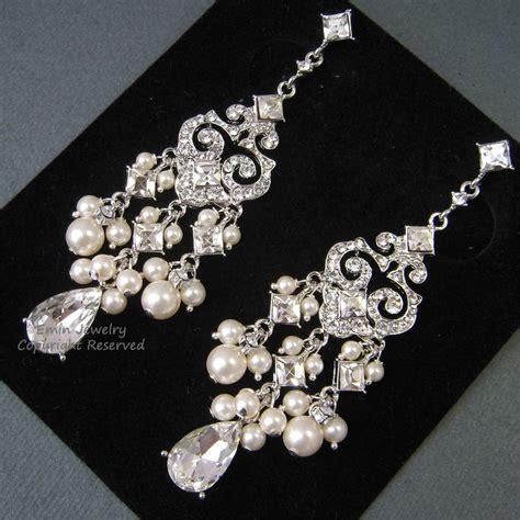 Chandelier Pearl Earrings For Wedding Chandelier Bridal Earrings E0022 Ivory Pearl Bridal Earrings Weddi