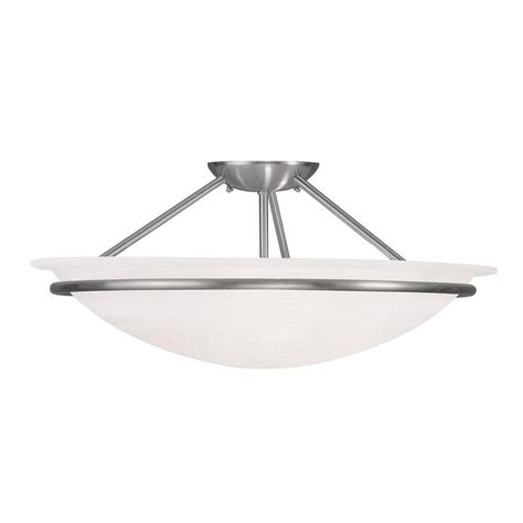 livex lighting providence 3 light ceiling brushed nickel