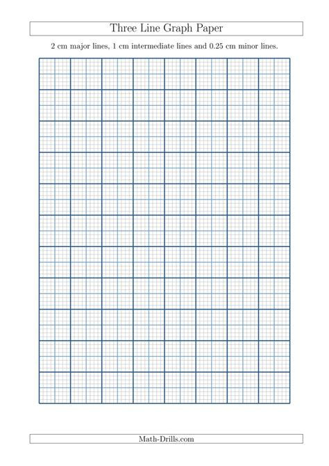 printable graph paper metric three line graph paper with 2 cm major lines 1 cm