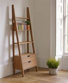 Leaning Bookshelf Desk Natural Polished Teak Wood Rustic Wall Ladder Bookshelf