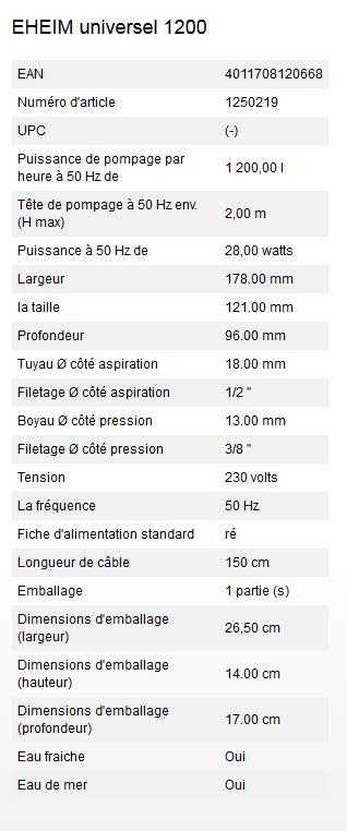 Pompa Universal Eheim 1200 pompe eheim universal 1200 1200 litres h 10m de c 226 ble