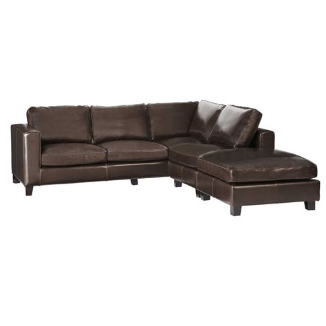 Chocolate Leather Corner Sofa 5 Seater Split Leather Corner Sofa In Chocolate Kennedy Maisons Du Monde