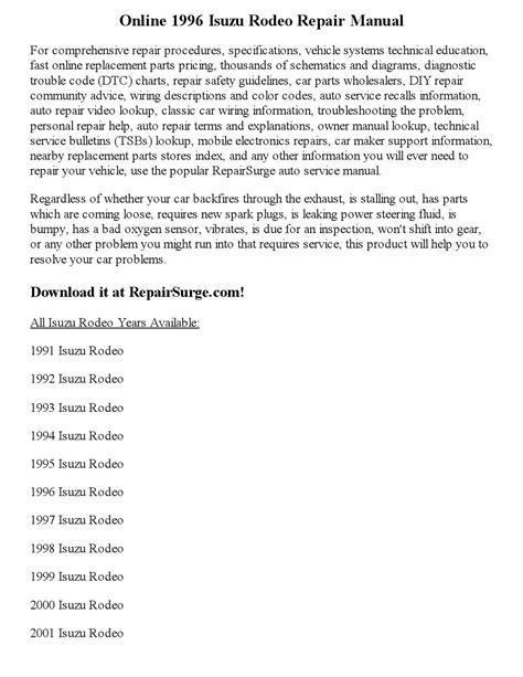 car manuals free online 1996 isuzu rodeo on board diagnostic system 1996 isuzu rodeo repair manual online by joseph lewis issuu