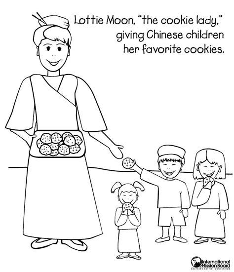 Coloring Page Of Lottie Moon | the cookie lady coloring page