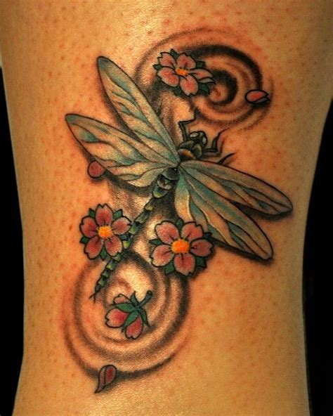 dragonfly and flower tattoo designs dragonfly cherry blossom flowers cherry blossom tattoos