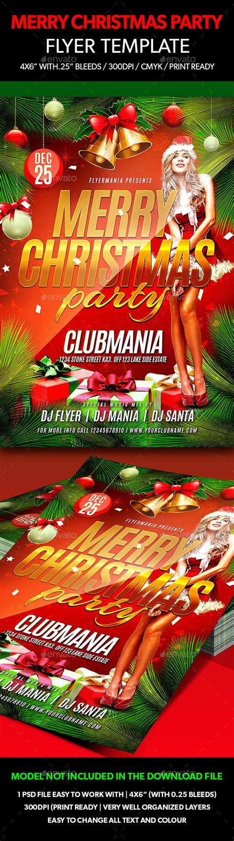 Merry Christmas Party Flyer Template By Flyermania Graphicriver Merry Flyer Template Free