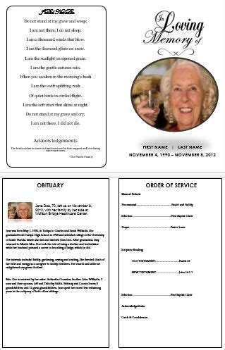 funeral service cards template in loving memory traditional single fold funeral