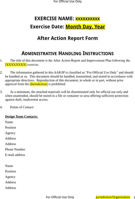 download after action report template for free formtemplate