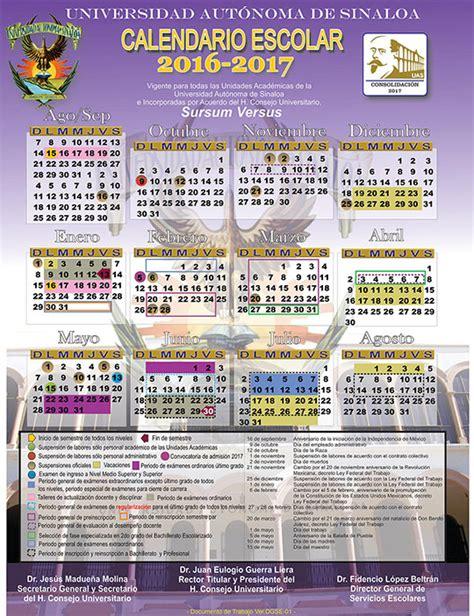Calendario Tec 2017 Universidad Autonoma De Sinaloa
