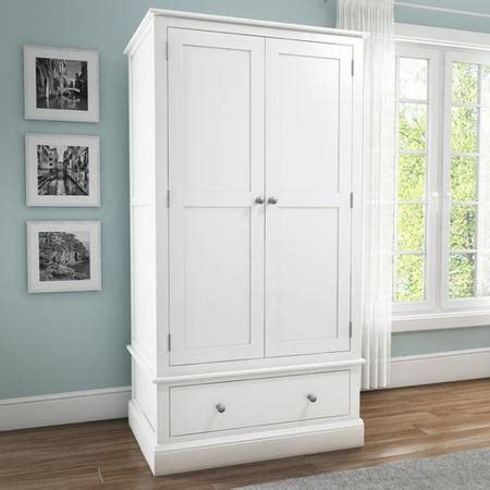 White Solid Wood Wardrobes - white solid wood 2 door 1 drawer wardrobe