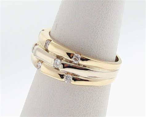 Ring 3ctw Size 5 5 genuine diamonds 1 3ctw solid 14k two tone gold ring 8mm
